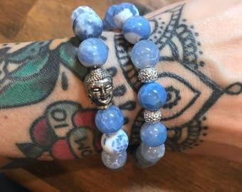 Pale Blue Agate Bracelet with Sparkle