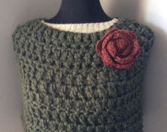 SALE Taupe Crocheted Shawl Capelet Poncho with Statement Flower Brooch