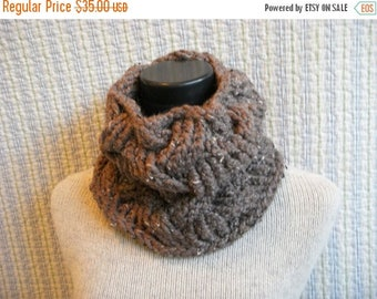 SALE Brown Cowl Tweedy Wool Knitted Chunky Cable Neck Warmer Barley Scarflette