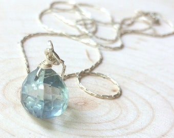 Mystic Blue Topaz Necklace, Modern Trillion Solitaire Pendant, Sterling Silver Chain, Silver and Blue, Dainty, Gift for Someone Special