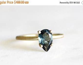 ON SALE 14k gold london blue topaz ring, alternative engagement ring, eco friendly, recycled wedding ring