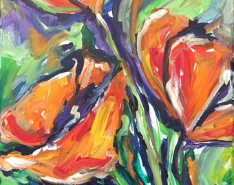 Abstract Acrylic floral 12x12 gallery wrap canvas original painting expressionism bold bright home decor