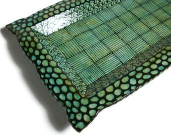 Ceramic Platter - Large Turquoise Tray with Black Doodle Design with Feet