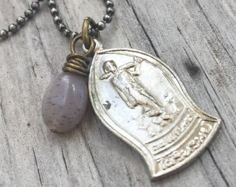 Walking BUDDHA Necklace with MOONSTONE and Silver Buddhist AMULET, Antique Brass Chain