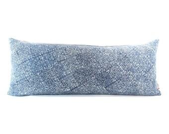 Vintage Blue Faded Indigo Batik Lumbar Pillow - Bohemian Rectangle Pillow - Boho Linen Decorative Pillow - Down Filler Included