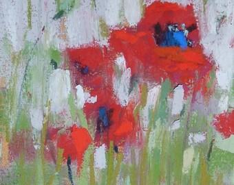 Poppy Red Poppies Landscape  mini Original Pastel Painting  Karen Margulis ATC