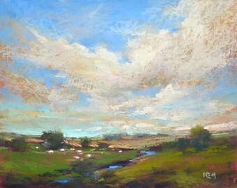 IRELAND Dramatic sky cloudsLandscape Original Pastel Painting Karen Margulis 8x10