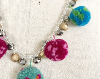Pom pom beaded necklace, Czech glass beads, boho, handmade - Poms