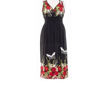Floral Maxi Dress Plus Size Summer Dresses Rose Print Women's Bohemian Clothing Boho Romantic Butterfly prints Blue and pink prints