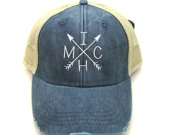 Clearance - Sale - Gift - Gracie Designs Hat - Michigan arrow design on navy blue snapback hat