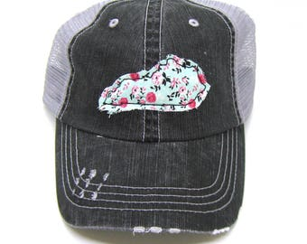 Kentucky Hat - Black and Gray Distressed Trucker Hat - Aqua and Pink Floral Applique - All States Available