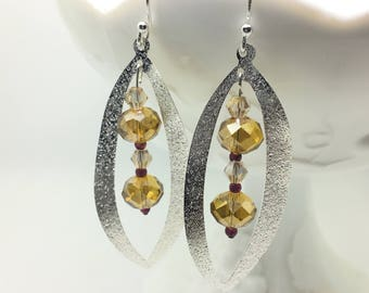 Unique Dangle Earrings Made of Glass and Garnet Beads
