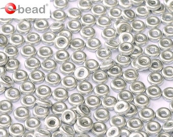 Czech Glass O bead ® 3.8x1 mm Aluminum Silver 2.5 or 5gms