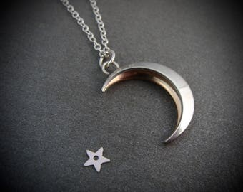 changeable moon ... reversible mixed metal pendant.