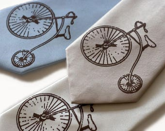 Penny Farthing hiwheel bicycle silk necktie. Cyclist gift, bike enthusiast, history buff, high wheel bicycle, Victorian gifts, Prisoner fans