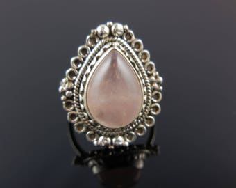 Rose quartz gemstone sterling silver ring - size 6.25