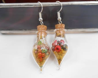 Vintage Style Ornamental Vial Bulb shaped earrings with red & green glass beads and gold glitter Ugly Sweater Party Holiday Fashion