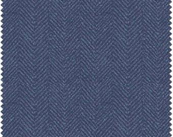 ON SALE - 10% Off Maywood Studios Woolies Flannel Blue Herringbone Apparel Fabric By The Yard