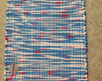 Rag Rug 16 inches wide and 20 inches long recycle upcycle OOAK homedecor floor rug