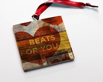 Wood Valentine's Gift for Him- Valentine Ornaments Wood Beats for You Valentine Gift Tag Wood Valentine Keepsak- Valentine Card Alternative