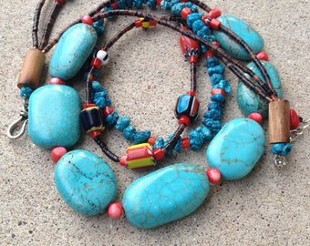 Turquoise, coral, wood three strand necklace