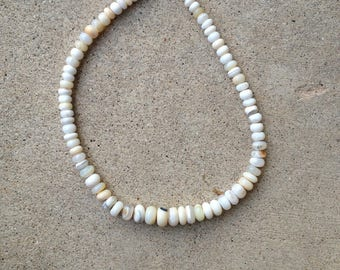 Necklace, white opal, graduated
