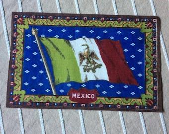 Mexican banner,vintage cigar felt,collectible,dollhouse rug,memorialbilia,cigar flannel,cigar premium,Mexico flag,Mexico crest,dark blue
