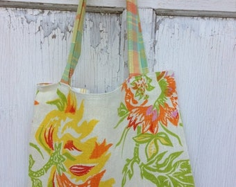 SALE- Garden Tote Bag-Library Bag-Upcycled