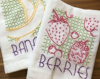 Vintage Fruit Hand Embroidered Dish Towels - Bananas/Berries