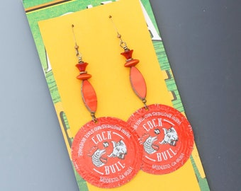 Bottle cap earrings. Cock and Bull. Long earrings. Reuse. Recycle. Upcycle.