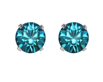 Swarovski Crystal Stud Earrings Sterling Silver Blue Zircon or CHOICE OF COLOURS