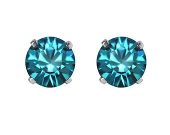 Swarovski Crystal Stud Earrings Sterling Silver Blue Zircon – CHOICE OF COLOURS