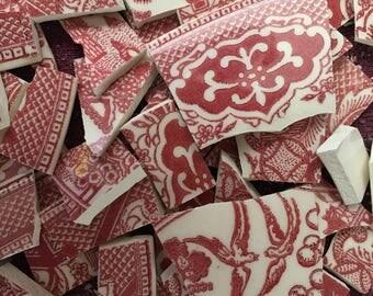 100 Vintage Pink Willow Transferware Vintage China Mosaic Tile Pieces Art Tile Supply