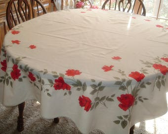 Vintage Tablecloth  Beautiful Vivid Red Roses 52 x 66 inches