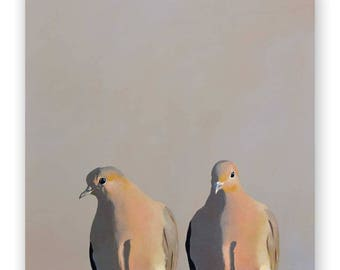 Mourning Doves - 10 x 10 Wings on Wood Decor