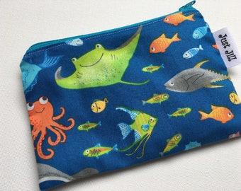 UNDER the SEA - Eco-Friendly - Reusable Zipper Bag - Sandwich Snack Bag - Children - Kids - School - Lunch - Size Small