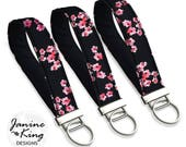 Floral  Fabric Key Fob Wristlet, Wrist Keychain,  Key Lanyard,  Wristlet Key Chain, Teacher Gift for Her,  Cherry Blossom pink black red MTO