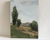 Landscape painting  9x12 pamela munger painterly green landscape