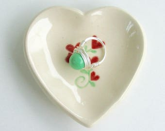 Valentine,Ceramic Heart Plate, Heart Bouquet, Hand Built Hand painted