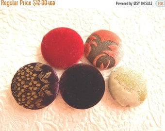 CLEARANCE - Velet multi buttons, fabric buttons, size 60 buttons, set of 5 buttons
