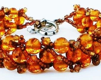 Baltic Amber Bracelet Woven Hand Beaded Swarovski Crystal Golden Amber Bracelet