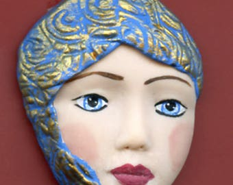 Polymer Clay One of a Kind   Detailed Face Cab with texture Un Drilled BMC 1