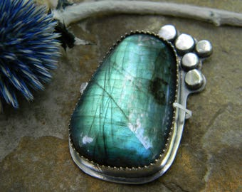 Huge flashy labradorite - ready to finish as a pendant or a ring in your size