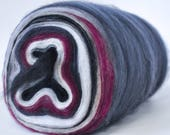 SOPHISTICATE- Self Striping Spontaneous Spinning Roving Bullseye Bump - (4.4 oz. center-pull bump)