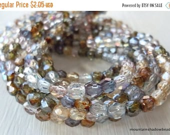25% OFF Sale 4mm Czech Fire Polished Beads - Luster Assortment - 50 (G - 84)