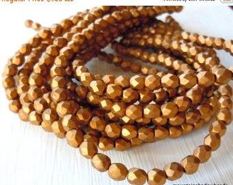 20% Summer SALE Czech Glass Beads 4mm Matte Metallic Goldenrod - 50 pcs (G - 32)