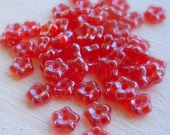20% Summer SALE Czech Flower Beads 5mm Czech Glass Beads Ruby Luster Daisy Lochrosen Spacer - 50 pc (G - 306)