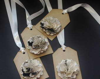 Encyclopedia Flowers gift tags, upcycled pages, 3D flower, set of 4, Kraft cardstock, paper flower, paper tags, floral, any occasion, favors