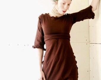 3/4 SLEEVE TOP tunic, tops, shirts, womens tunic, womens shirt, womens top, handmade clothing, brown shirt, best selling, treehouse28
