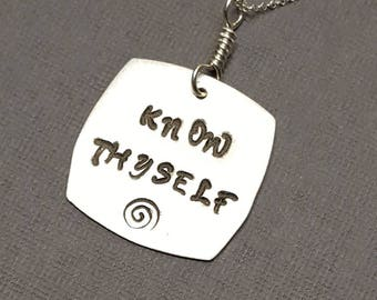 Sterling Silver KNOW THYSELF  Pendant